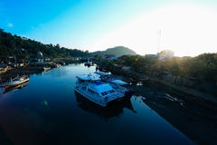 Padang city indonesia. Ship & boat cargo harbour at padang city indonesia Royalty Free Stock Photos