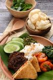 Padangnese Rice. Popular Padangnese rice dish of steamed rice with beef rendang, chili pepper omelette, shrimps in chili sauce, papaya leaf, green chili paste stock images