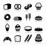 Padaria, ícones da pastelaria ajustados - pão, filhós, bolo, queque ilustração do vetor