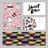 Padaria, bandeiras do vetor dos doces da pastelaria e das sobremesas com bolos e queques, queques, tortas e galdérias, pudins do  ilustração stock