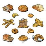 A padaria e o pão vector o naco ou o baguette da refeição do breadstuff do cozimento cozido pelo padeiro em ilustração ajustada d ilustração do vetor