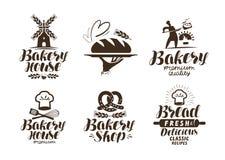 Padaria, etiqueta da padaria ou logotipo Pão, produtos de forno, símbolo do alimento Ilustração tipográfica do vetor do projeto ilustração do vetor