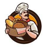 Padaria, logotipo da padaria ou etiqueta Padeiro com uma cesta de vime do pão recentemente cozido Ilustração do vetor ilustração do vetor