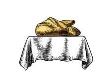 Padaria na toalha de mesa ilustração stock