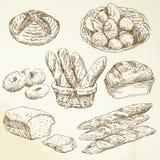 Padaria, naco, baguette - entregue a coleção desenhada ilustração stock
