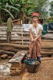 Padaung (卡伦)小山部落农村生活,缅甸 免版税库存照片