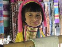 Padaung gammal kvinna Arkivfoto