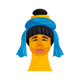 Padaung woman with neck rings icon, cartoon style. Padaung woman with neck rings icon in cartoon style isolated on white background. Ethnicity symbol Stock Photos