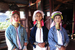 Padaung women from Kayar,Myanmar. Old women and young girl with bands on the neck, in the province of Kayar, Burma(Myanmar) Used for news and articles about the royalty free stock photo