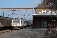 Padborg Station. Padborg railway station is the border station between Denmark and Germany. During the refugee crisis in 2015 this otherwise silent station was Stock Image