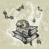 Padda på böckerna stock illustrationer