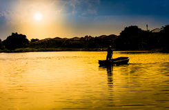 Paddal oar Beautiful sunset lifestyle summer travel Stock Photography