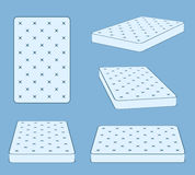 Padded comfortable sleeping bed mattress in different position vector template. Flat mattress for bed, illustration of comfortable mattress Stock Images