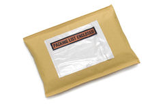 Padded envelope with label on white royalty free stock photography