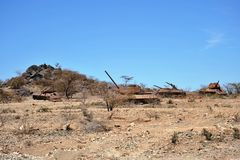 Padded tanks. At the city of Boramo. Somalia Royalty Free Stock Image