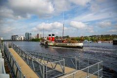 Paddel-Dampfer Waverley-Überschrift ` doon das Watta-`, Glasgow, Schottland Stockfotos