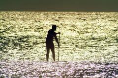 Paddel-Vorstand in Sunlit Wasser Lizenzfreies Stockfoto