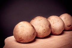 Paddestoel bruine Champignon bij het koken van raad Stock Foto's