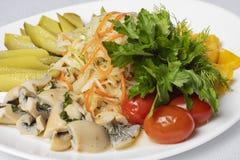 Paddestoel en vissen, Ingelegde komkommers, aardappel en eieren met olijven en citroen, koude maaltijd stock foto's