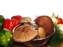 Paddestoel en voedsel royalty-vrije stock foto's