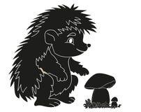 Paddestoel van het egel de zwarte silhouet Royalty-vrije Stock Afbeeldingen