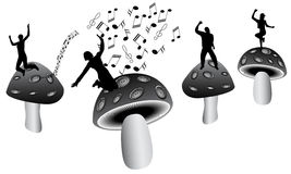 Paddestoelen en muziek Royalty-vrije Stock Fotografie