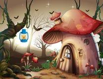 Paddestoelhuis in het Donkere Bos royalty-vrije illustratie
