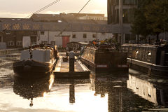 Paddington Basin. At the meeting of the Great Union Canal and the Regent's Canal is a little cul-de-sac known as Paddington Basin. Here canal boats are moored Royalty Free Stock Images