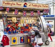 Paddington Bear Stand at Paddington Station London. LONDON, ENGLAND - MAY 2012: Kiosk of Paddington Bear at Paddington railway station in London Royalty Free Stock Photography
