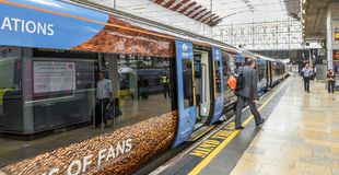 Paddington railway station. At the platform of Paddington railway station. London, the UK Stock Photography