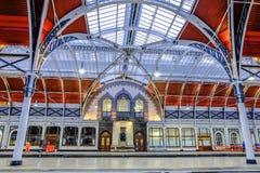 Paddington Station. London, UK - December 18, 2016: Interior architecture of Paddington station a famous railway station in central  London, United Kingdom Royalty Free Stock Image