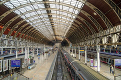 Paddington Station, London. LONDON, UK - MAY 15, 2014:  View of the London terminus for trains from the West of England and Wales - Paddington Station.  Designed Stock Photos