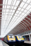 Paddington station trains. Two stationary trains at paddington railway station in London Royalty Free Stock Photo