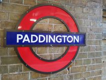 Paddington stationstecken, London royaltyfri fotografi