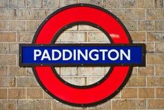 Paddington Underground. LONDON - APRIL 24: Paddington underground station sign in London, England on April 24, 2013. London's Metropolitan is the oldest Royalty Free Stock Photo