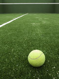 Paddle. Tennis ball on synthetic grass of paddle court Royalty Free Stock Photo