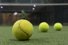Paddle ball in astroturf court Stock Image