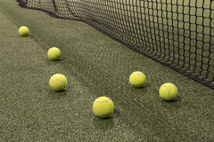 Paddle ball in astroturf court Royalty Free Stock Photo