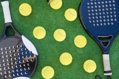 Paddle balls and rackets Royalty Free Stock Photo