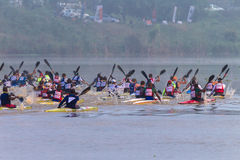 Paddlers Speed Blur Canoe Race Royalty Free Stock Photography