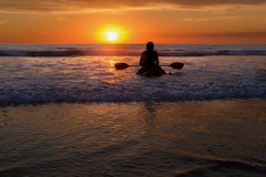 Paddle Board At Sunset, Del Mar, California Stock Image