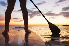 Sup, stand up paddle board in sea. Paddle board on the beach, close up of standing legs and paddle royalty free stock photo