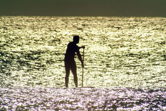 Paddle Board in Sunlit water. Man paddle boarding in early morning sun glare royalty free stock photo