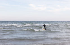Paddle board surfer on the Lake. Royalty Free Stock Photo