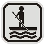 Paddle board, vector icon, black silhouette of man with paddle stock photography
