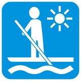 Paddle board, vector icon, white silhouette of man with paddle stock image