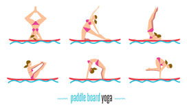 Paddle board yoga set, vector illustration. Paddle board yoga set, sup yoga. Six different poses on the paddle board. Girl standing in different yoga poses Stock Photos