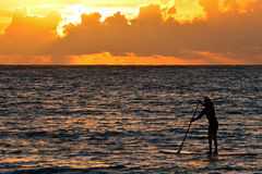 Paddle Boarder at Sunrise Stock Images
