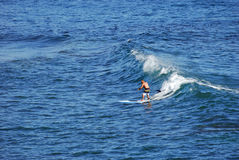 Standup paddle boarder surfing off Heisler Park, Laguna Beach, California. Stock Photos