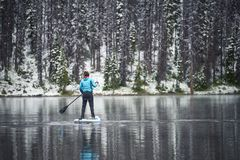 Paddle boarding on a lake in the winter. A woman paddle boarding on a mountain lake in the winter royalty free stock images